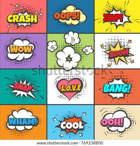 comic pow bubbles cartoon bang