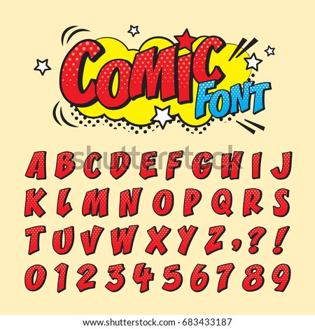 comic retro font set alphabet