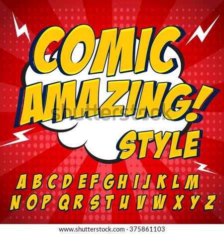 comic retro yellow alphabet set