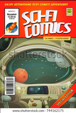 Comic Scifi Book Cover Template/ Illustration of a cartoon editable sci-fi comic book cover template, with rocket ship flying, and spaceship interior