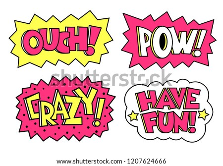 Comic sound speech effect bubbles set isolated on white background vector illustration. Crazy, pow, ouch, have fun. Perfect for pins, stickers. ストックフォト ©