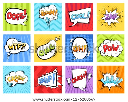 Comic sounds. Cartoon explode stripped burst frames and speech bubbles with words boom vector retro template #1276280569