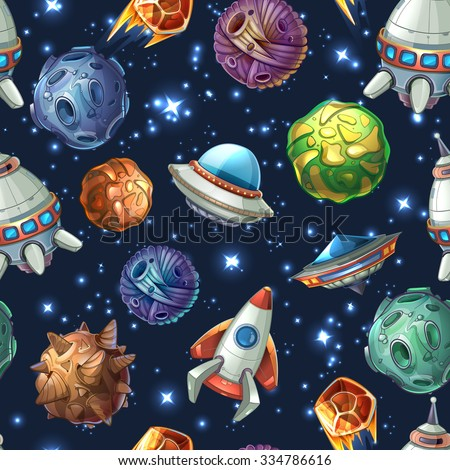 comic space with planets and