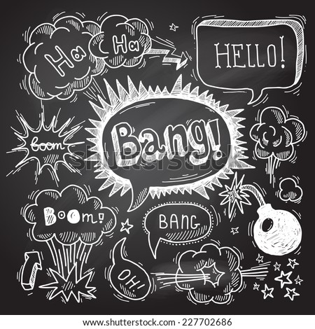 comic speech bubble chalkboard