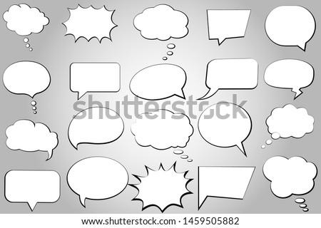 Comic speech bubble isolated sticker vector icon set. Empty cartoon bubble speech icons collection. Cloud bubble speech design for text, talk, message, dialogue. Balloon bubble empty speech textbox