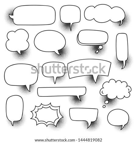 comic speech bubble set with halftone shadow vector illustration