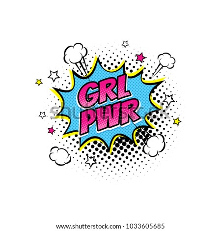 Comic speech bubble with emotional text Girl Power, clouds and stars. Vector bright dynamic cartoon illustration isolated on white background.