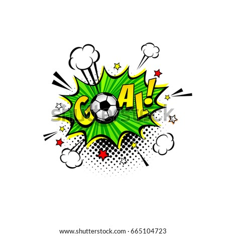 Comic speech bubble with expression text Goal, soccer ball, stars and clouds. Vector bright dynamic cartoon football object in retro pop art style isolated on white background.