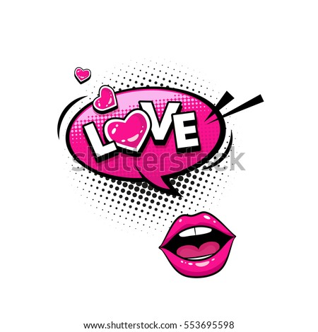 Comic speech bubble with hearts, emotional text Love and female lips. Vector bright dynamic cartoon illustration isolated on white background