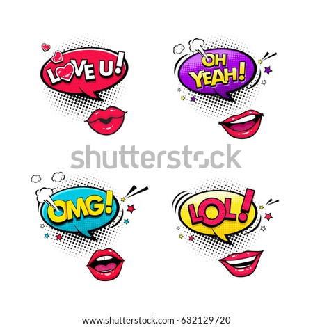 comic speech bubbles and female