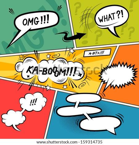 comic speech bubbles layered