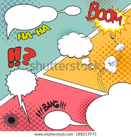 Comic Speech Bubbles on a comic strip background, vector illustration