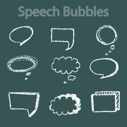 Comic Speech Bubbles on blackboard background, vector illustration