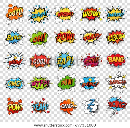 comic speech bubbles or sound