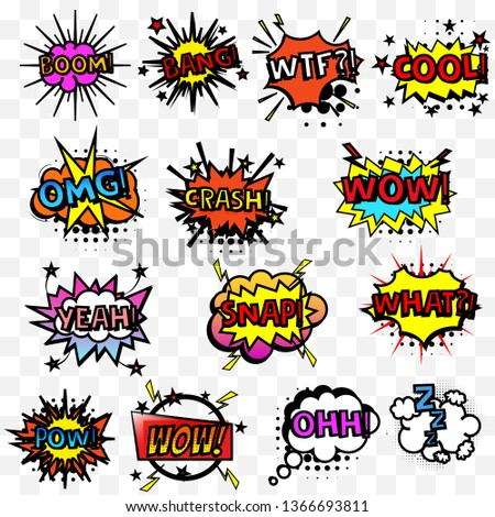 Comic speech bubbles or sound replicas.Vector cartoon explosions with different emotions.Color graphics for brochures, leaflets, cards and sales