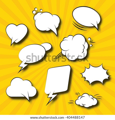 Comic Speech Bubbles Retro Collection. Vector illustration