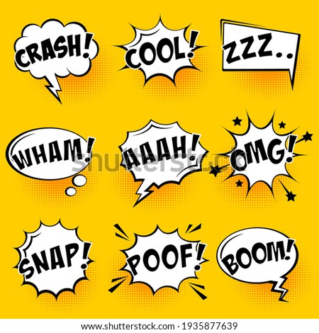 Comic speech bubbles with halftone shadows and text on yellow background. Hand drawn retro cartoon stickers. Pop art style. Vector illustration.