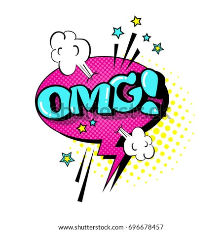 Comic Speech Chat Bubble Pop Art Style Omg Expression Text Icon Vector Illustration