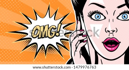 Comic style beautiful young woman talking on the mobile phone, surprised expression, open mouth, omg, wow, pop art girl banner, vector illustration