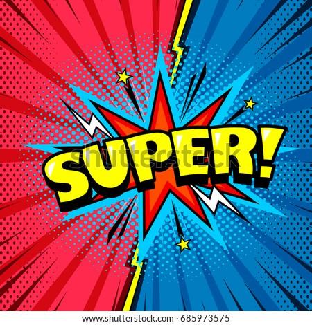Comic style cool cartoon book poster, superhero speech bubble, joyful expression