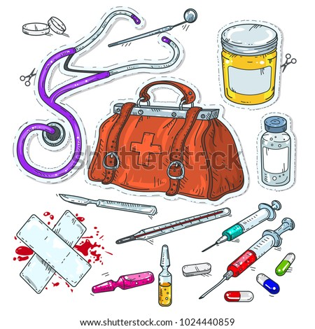 comic style icons, sticker of medical tools, doctor bag