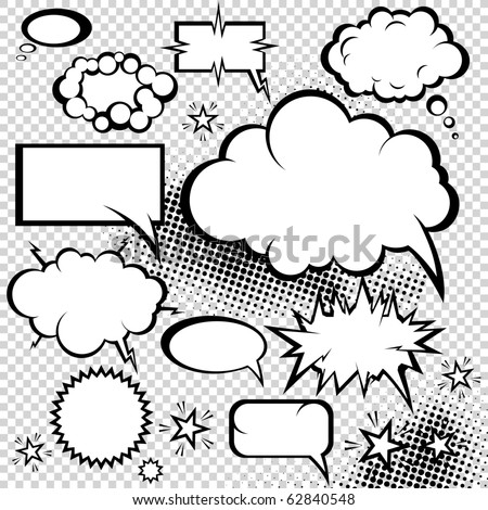 Comic style speech bubbles collection. Funny design vector items illustration. - stock vector