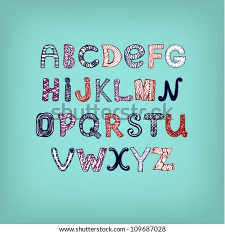 Comic stylized font. Different letters for design, message, card.