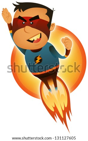 Comic Superhero Blasting Off/ Illustration of a cartoon red and blue masked super hero character blasting off and flying straight forward