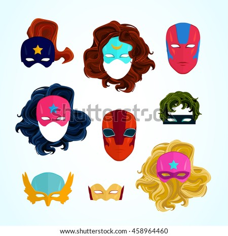 comic superhero masks set