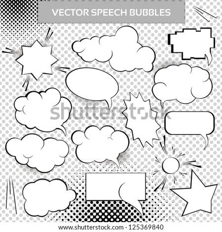 Comic Vector Design Elements. Speech bubbles collection.