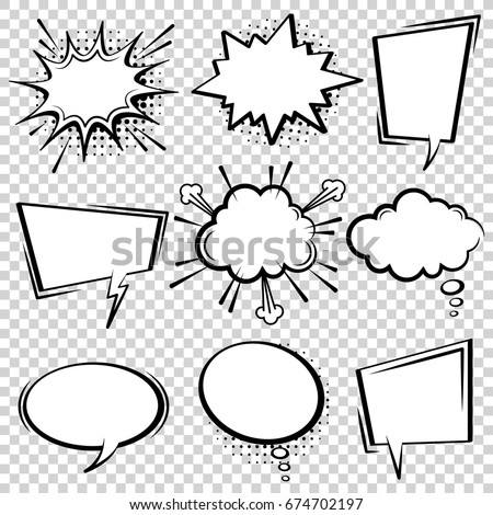 Comic vector speech box set.  Speech bubble set. Cartoon pop art expression speech cloud illustration. Comics book vector background template. Black and white.