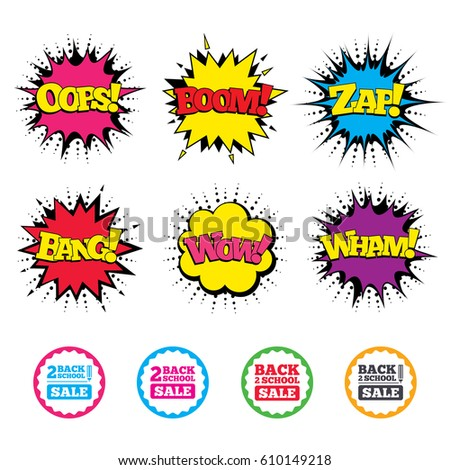 Comic Wow, Oops, Boom and Wham sound effects. Back to school sale icons. Studies after the holidays signs. Pencil symbol. Zap speech bubbles in pop art. Vector