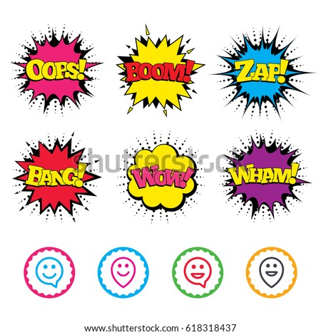 Comic Wow, Oops, Boom and Wham sound effects. Happy face speech bubble icons. Smile sign. Map pointer symbols. Zap speech bubbles in pop art. Vector