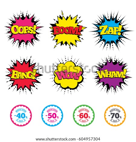 Comic Wow, Oops, Boom and Wham sound effects. Sale discount icons. Special offer stamp price signs. 40, 50, 60 and 70 percent off reduction symbols. Zap speech bubbles in pop art. Vector