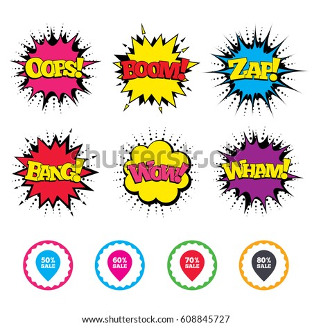 Comic Wow, Oops, Boom and Wham sound effects. Sale pointer tag icons. Discount special offer symbols. 50%, 60%, 70% and 80% percent sale signs. Zap speech bubbles in pop art. Vector