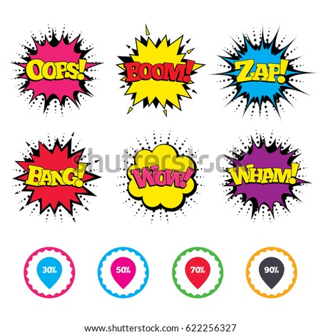Comic Wow, Oops, Boom and Wham sound effects. Sale pointer tag icons. Discount special offer symbols. 30%, 50%, 70% and 90% percent discount signs. Zap speech bubbles in pop art. Vector