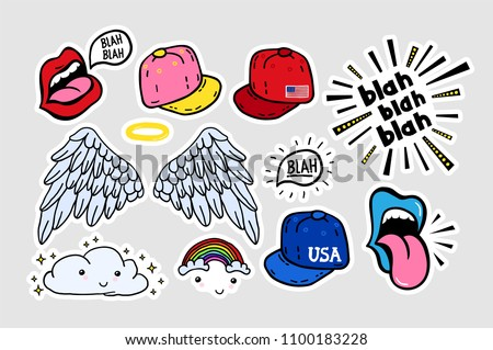 Comic youth stickers, patches in 70's 80's, 90's rock, pop art style. Speech bubbles, different emotions,  text. Suitable on laptop, jeans jacket, teenage adolescent clothes. Teen colorful vector set