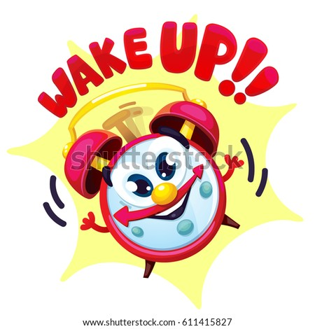 "Comical red alarm clock. Vector isolated cartoon illustration and lettering ""wake up!"""