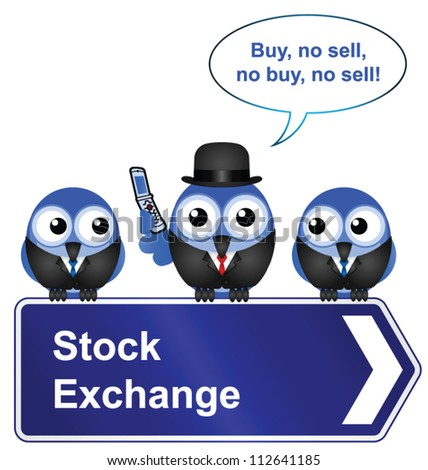 Comical stock exchange sign isolated on white background