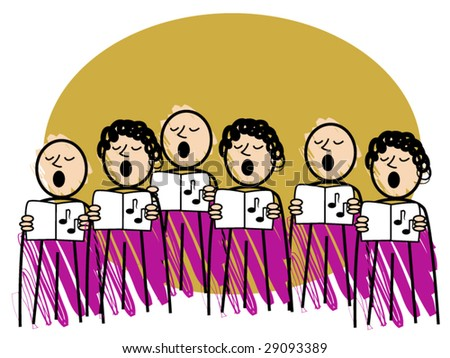 comical vector illustration of a male and female choir