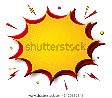 Comics background. Cartoon poster in pop art style with yellow-red speech bubbles with halftone and sound effects. Funny colorful banner with place for text on white backdrop Stockfoto ©