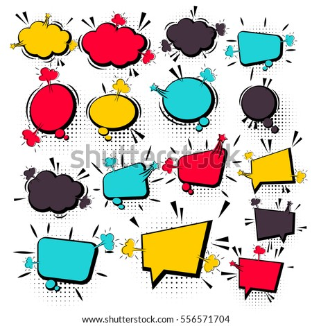 Comics book background blank template. Comic text empty bubble collection colored empty cloud pop art vector comic box balloon. Set message bubble speech cartoon expression illustration