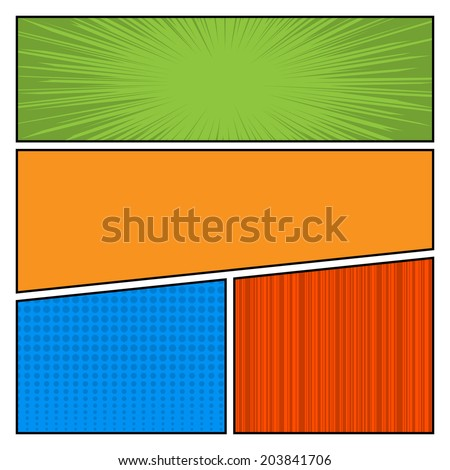 Comics Color pop art style blank layout template with dots pattern background vector illustration
