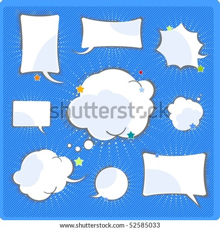 Comics speech and thinking bubbles set - stock vector