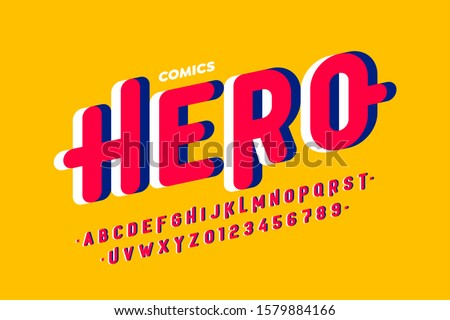 Comics style font, super hero alphabet, letters and numbers, vector illustration