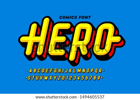 Comics super hero style font design, alphabet letters and numbers, vector illustration
