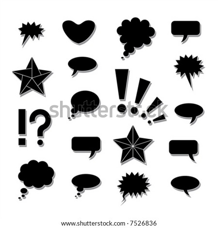 Comics symbols. Vector illustration with shadows on separate layer.