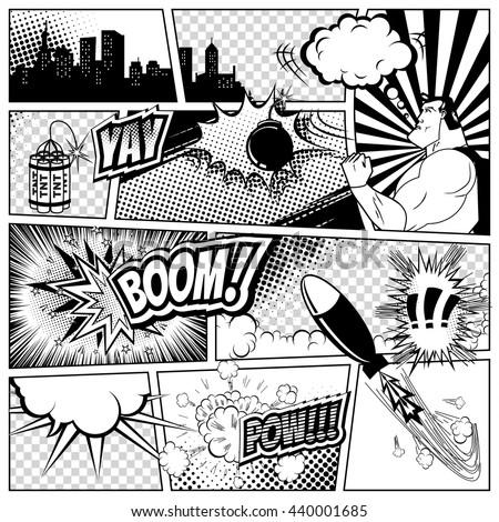 comics template vector retro