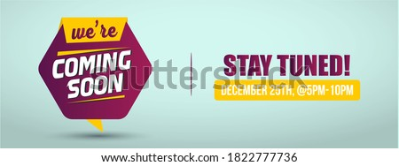 Coming soon announcement banner. we are coming soon cover for social media in yellow and purple color with cyan background. opening soon announcement cover banner for social media.