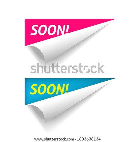 Coming soon banner on corner peel flip paper fold vector, new product release advertising folded sticker, twisted up advertising and promotional message blue red color